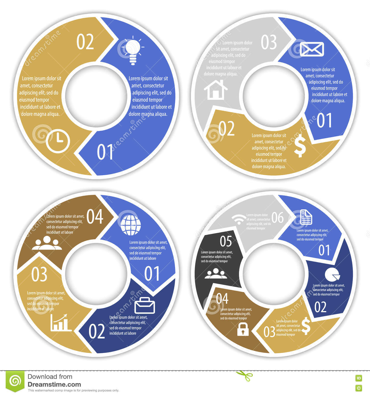 Set Of Round Infographic Diagram With Arrows. Circles Of 2, 3, 4, 6 Diagram With Circles on