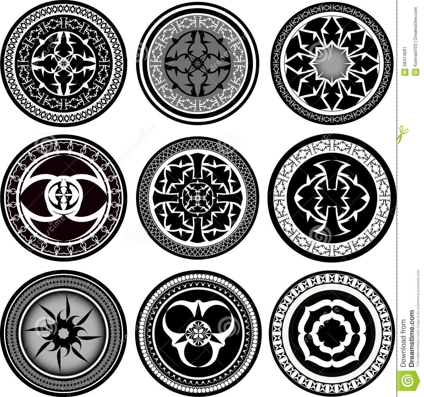 set of round ornament pattern stock vector image 58414681. Black Bedroom Furniture Sets. Home Design Ideas
