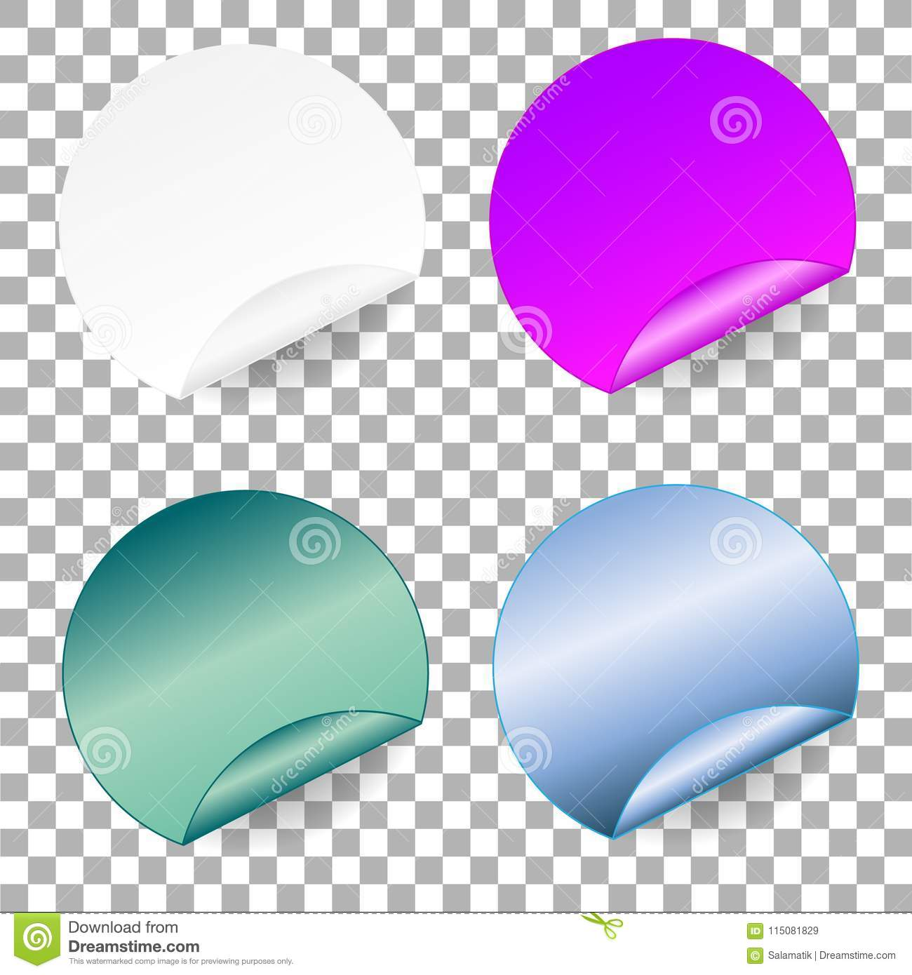 Set Of Round Paper Adhesive Stickers  Mockup Note Templates Of A Price Tags  Empty Mockup For