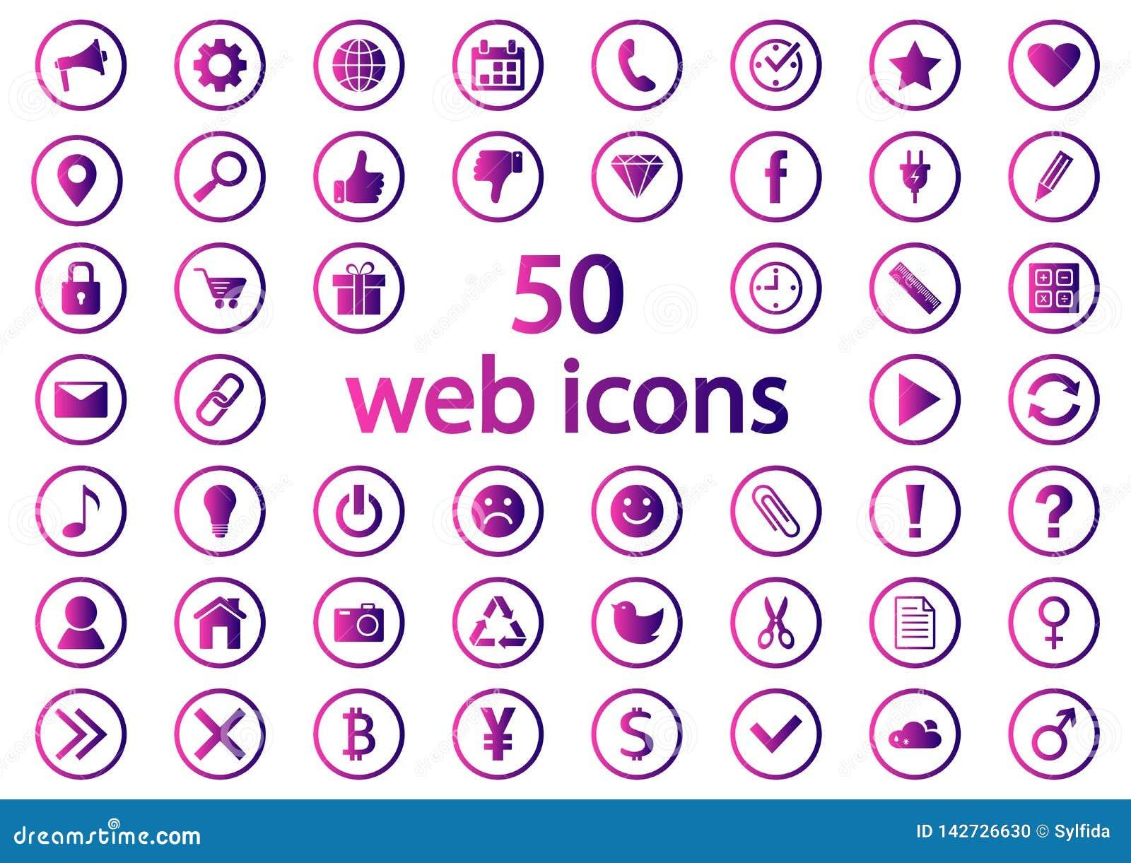 Set Round sieci ikony Purpurowy gradient wektor