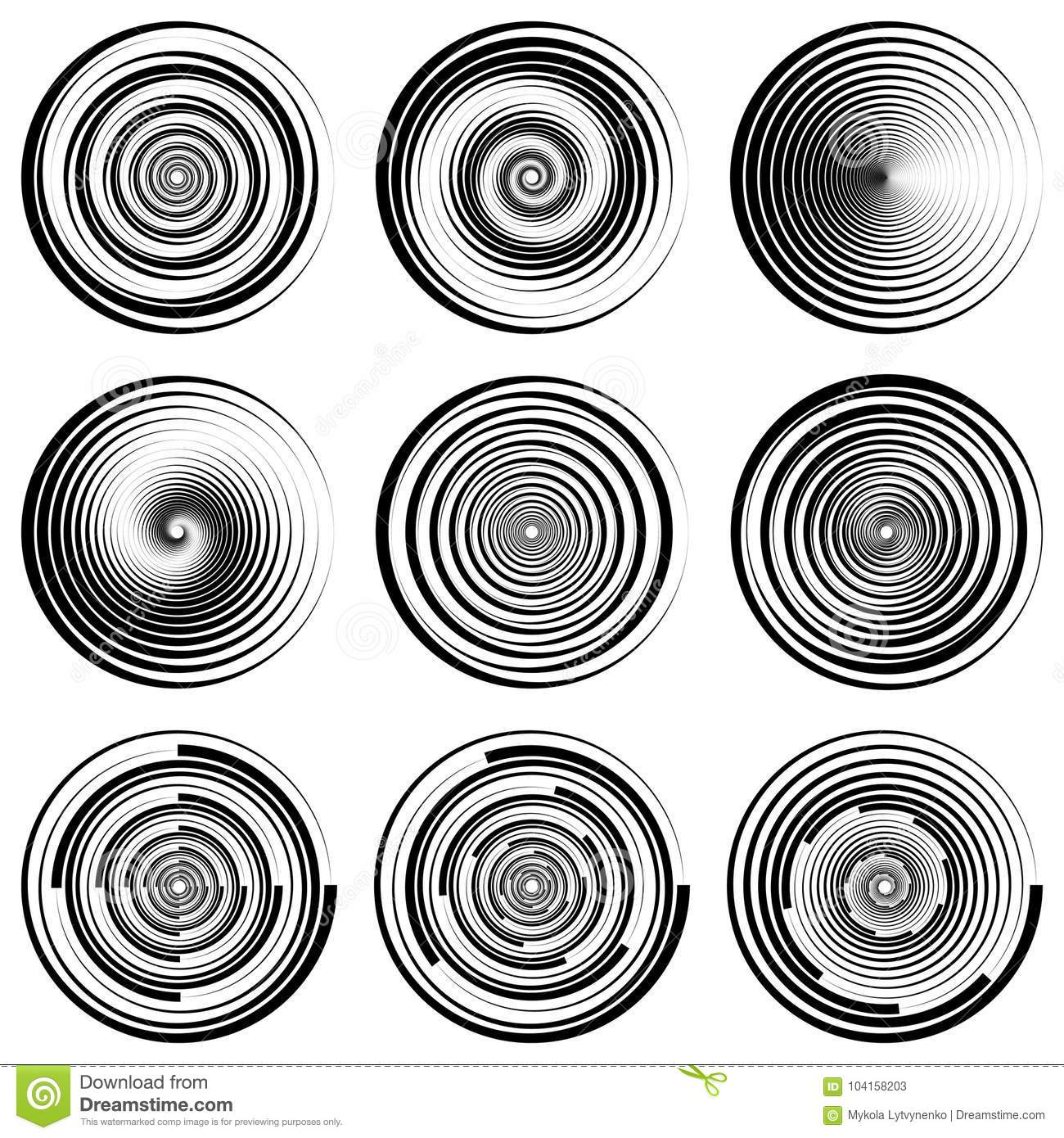Set Round Spiral Circle Filigree Watermark, Vector EPS Dynamic