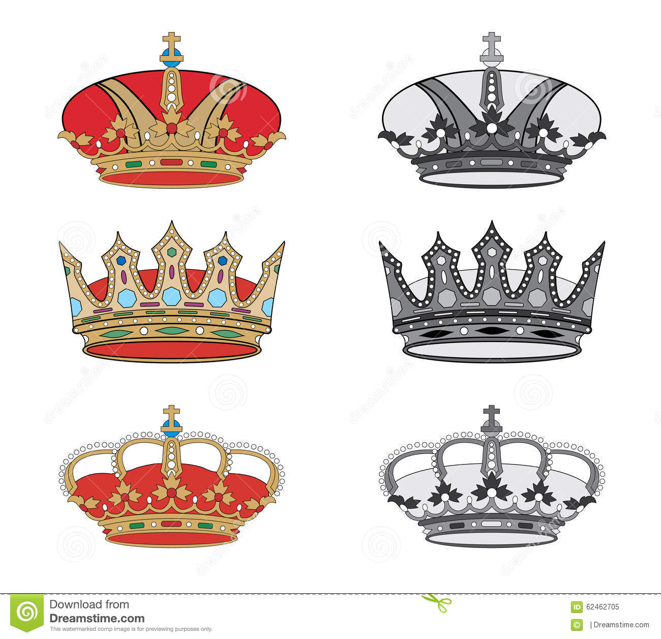 Royal Crowns Emblems Set Heraldic Coat Of Arms Decorative