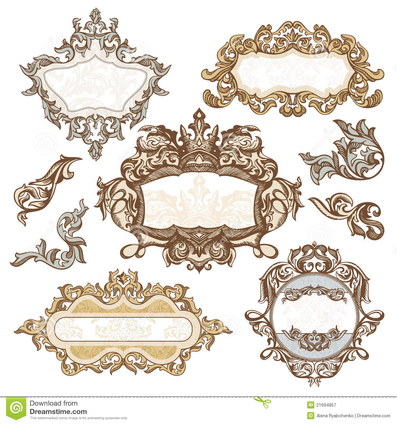 Set of royal vintage frames stock vector image 21694857 for How to make vintage frames