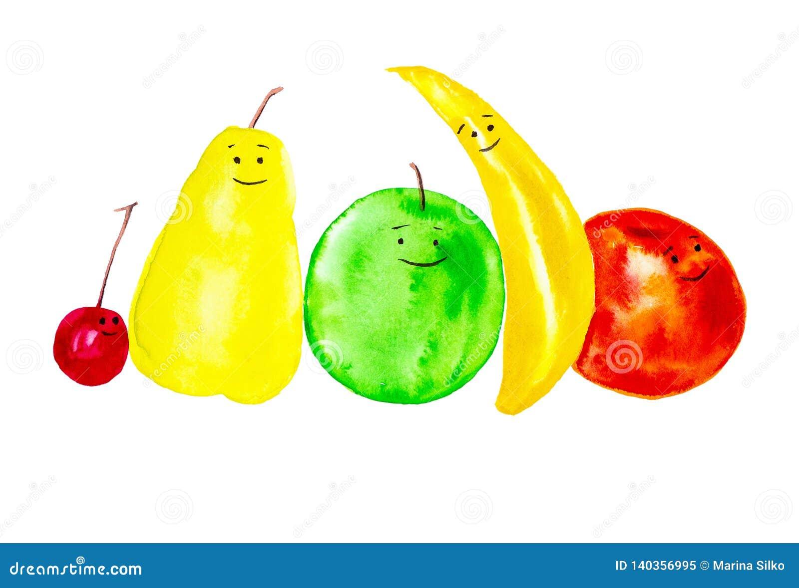 Set rozochocone, uśmiechnięte owoc, Abstrakcjonistyczne akwareli ilustracje odizolowywać na białym tle