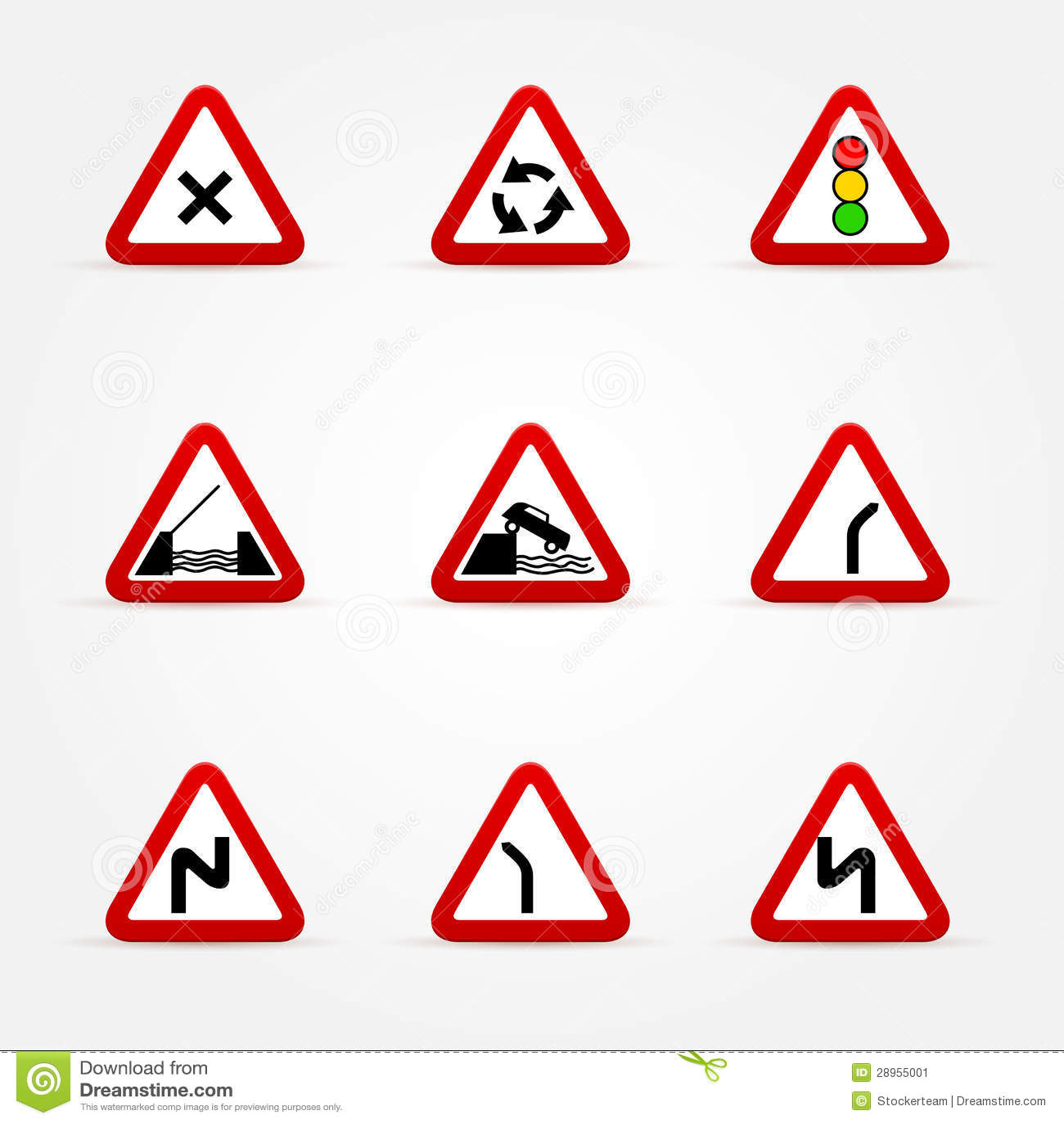 Set ruch drogowy znaki - ostrzeżenia