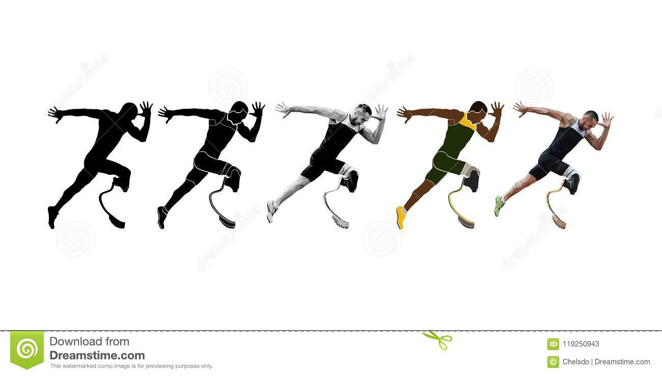 Set Runner Athlete Amputee Disabled Stock Vector - Illustration of
