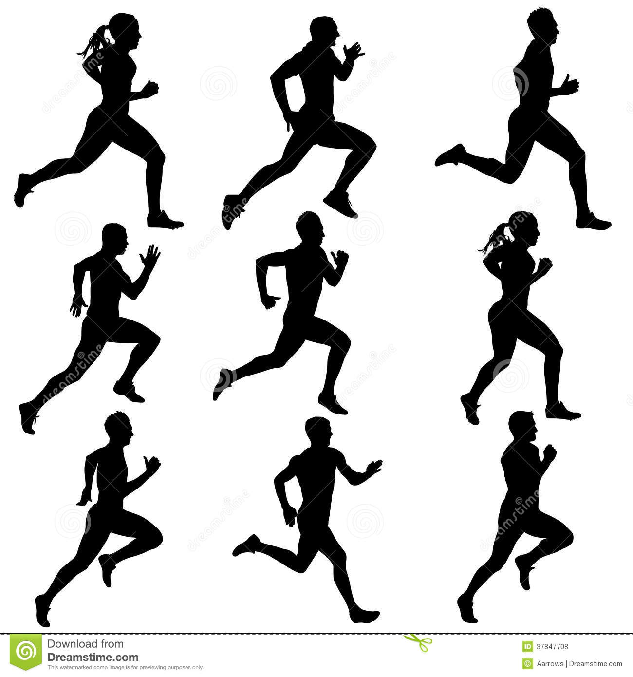 Set Running Silhouettes. Vector Illustration. Royalty Free ...