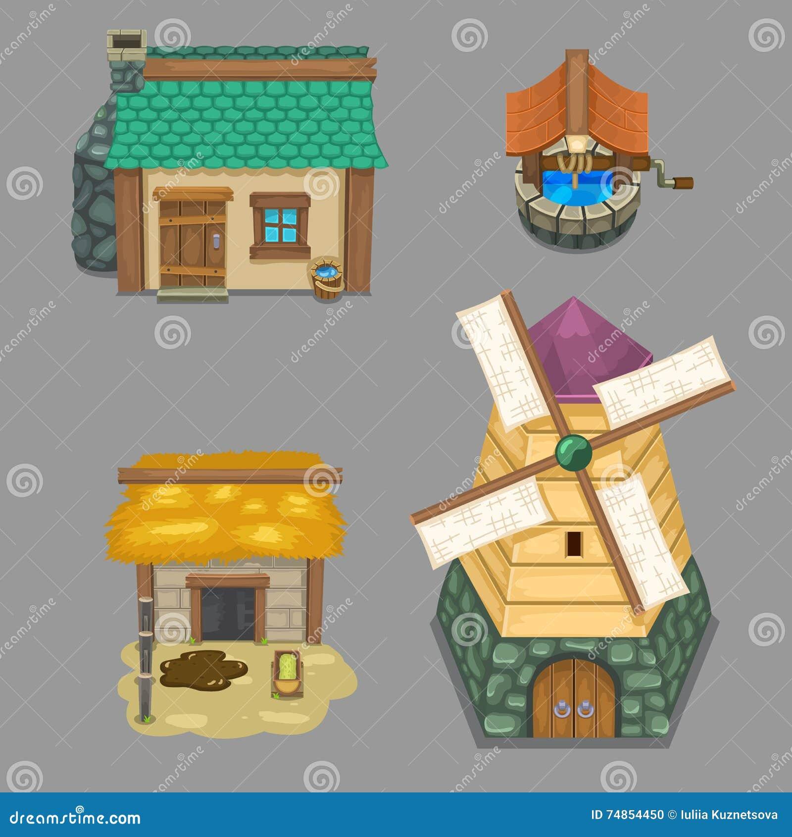 Set Of Rural Buildings Create Your Own Cartoon Farm. Game