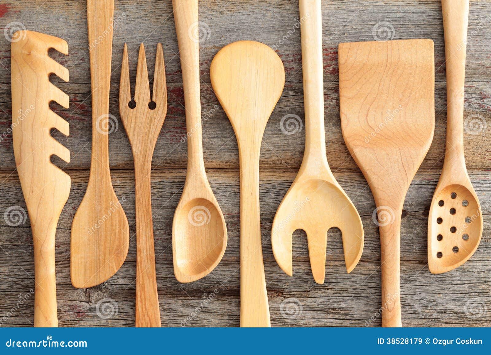 Set of rustic wooden handcrafted kitchen utensils royalty for Wooden kitchen utensils