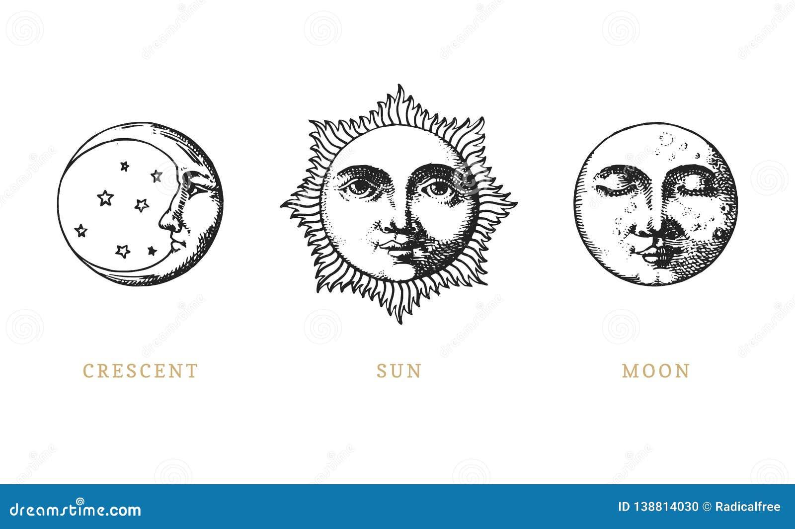 Set słońce, księżyc i półksiężyc, ręka rysująca w rytownictwo stylu Wektorowej grafiki retro ilustracje