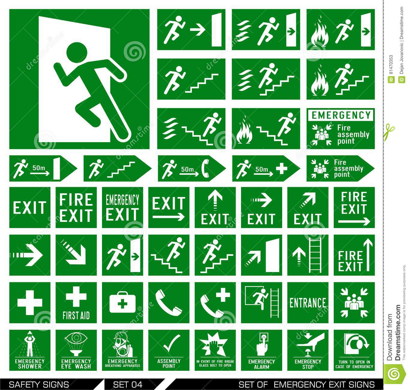Set of safety signs. Exit signs.