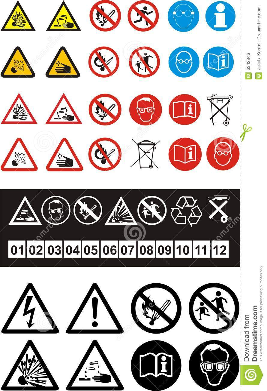 Set of safety symbols stock vector illustration of isolated 6342846 set of safety symbols buycottarizona