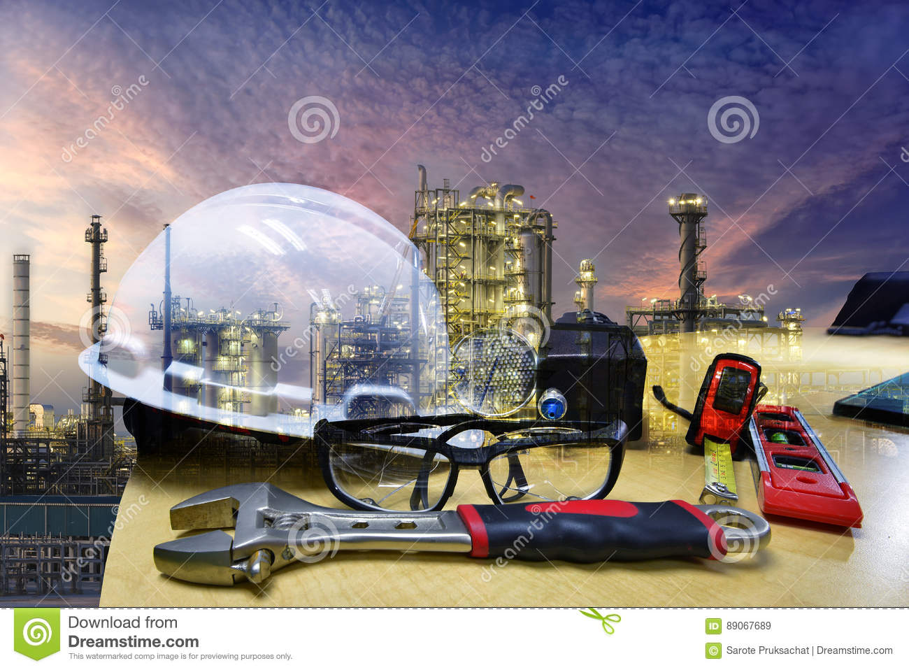 Set Of Safety Work Wear On Storage Tank Refinery Background , Image