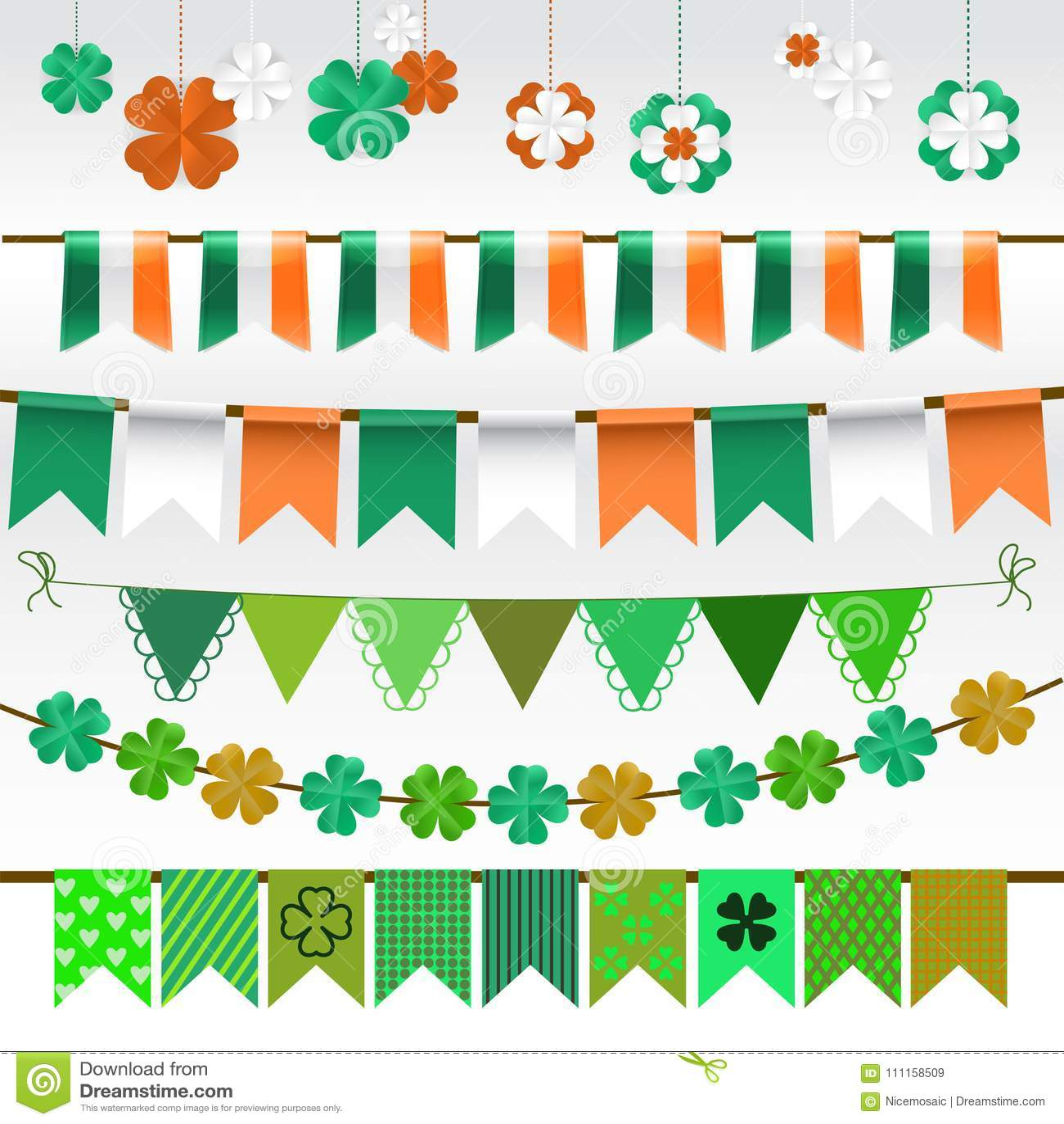 Set Of Saint Patricks Day Decorations Isolated On White