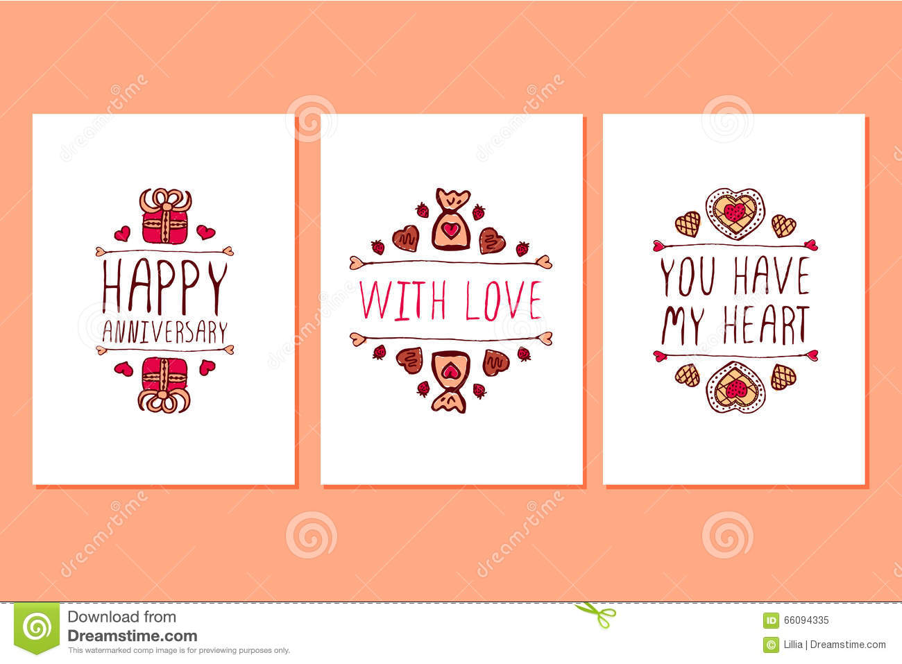 Set Of Saint Valentines Day Hand Drawn Greeting Cards Image – San Valentines Cards