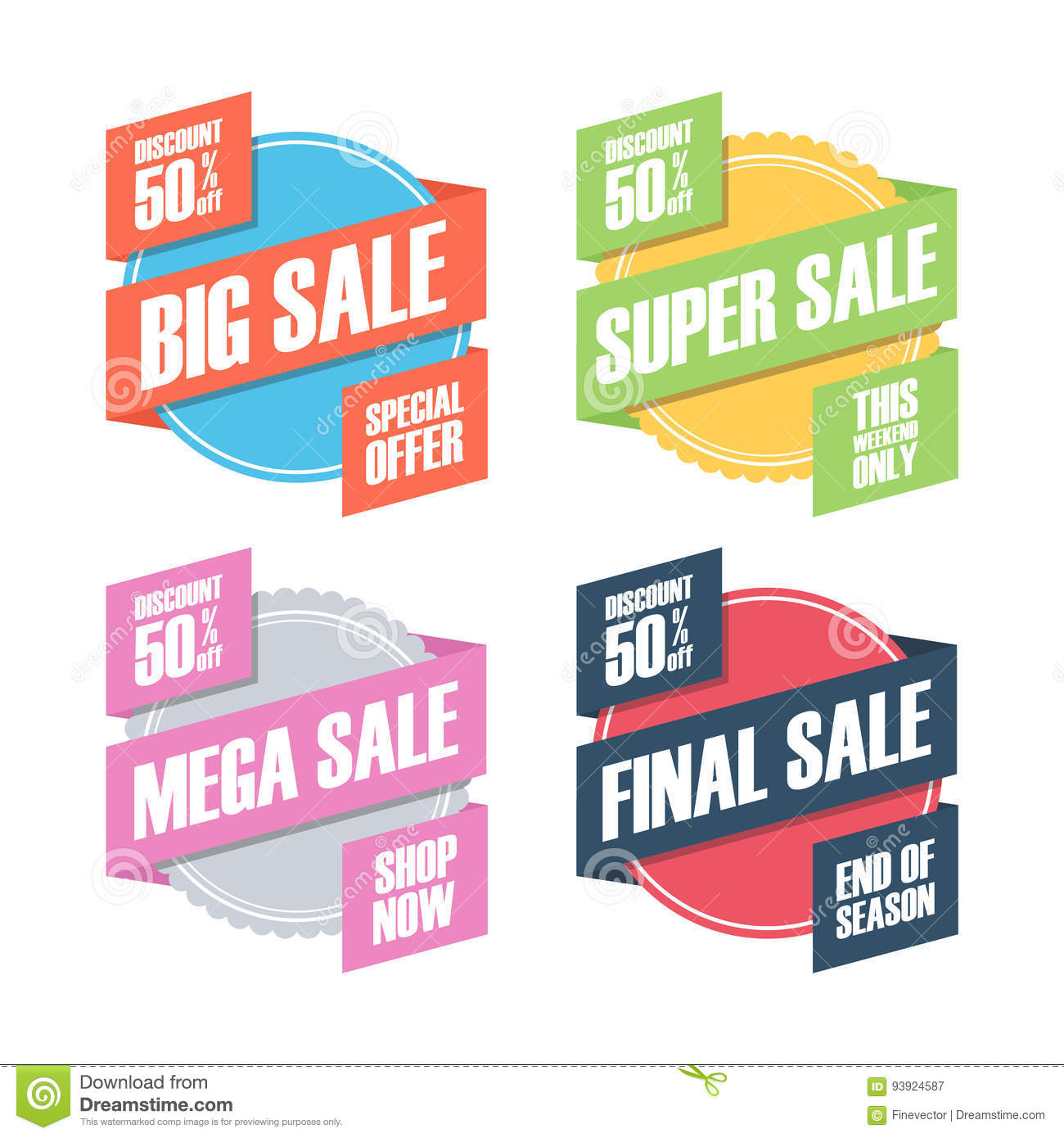 Set Of Sale Badges, Stickers Or Discount Labels With Ribbon  Stock