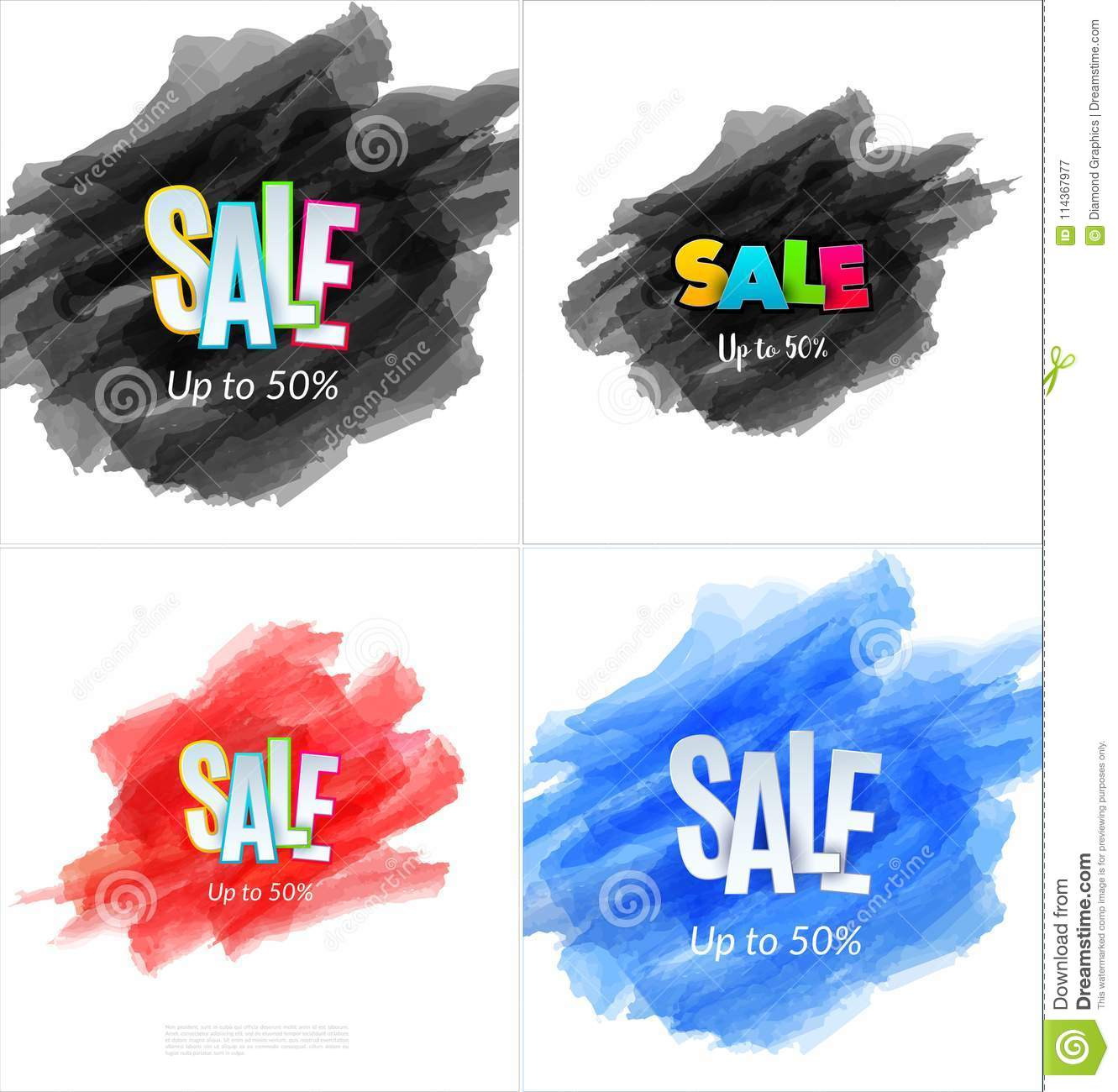 Set of sale banner template design. Special offer, colourful letters for shopping, mall, trade, retail.