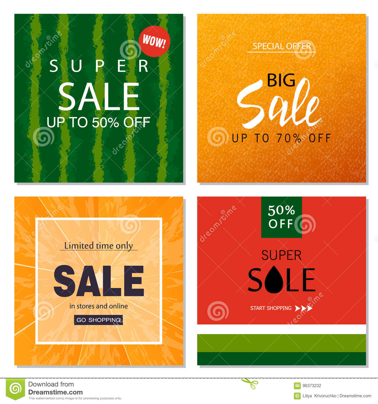 Set Of Sale Banner Templates Vector Illustrations For Website And