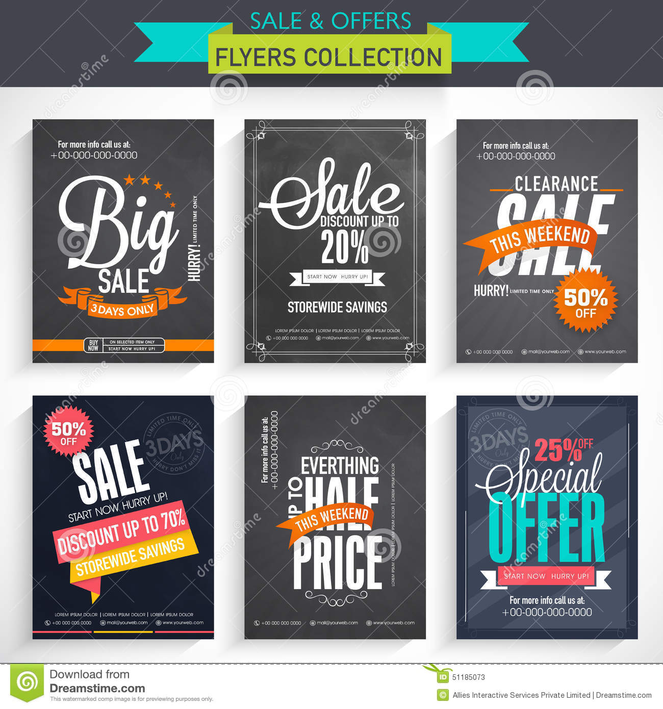 set of flyer collection stock illustration image  set of flyer collection
