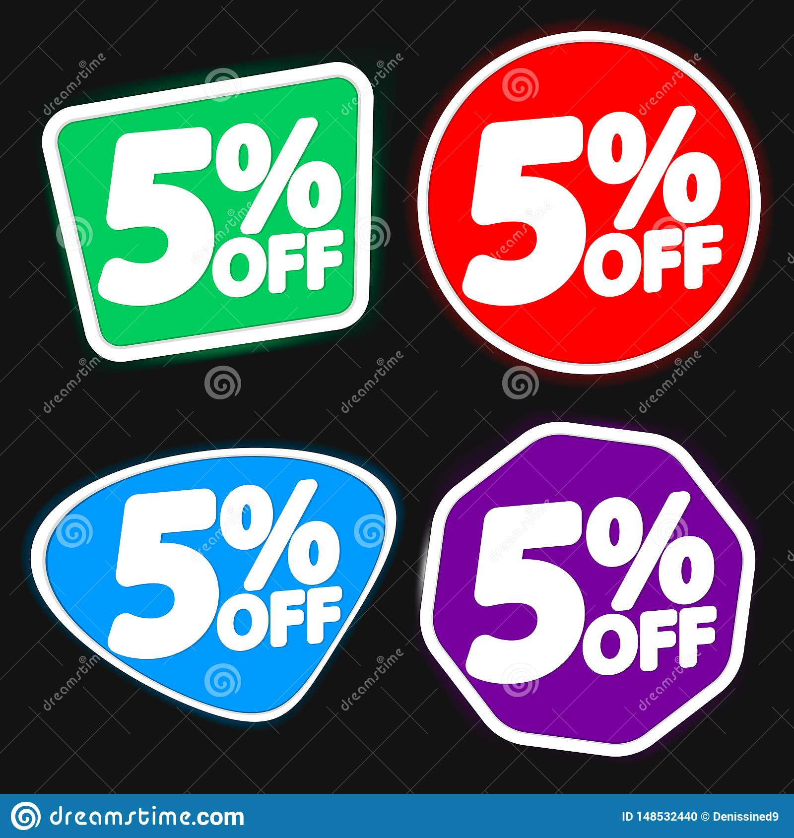 Set Sale 5  off, discount banners design template, extra offer tags, vector illustration