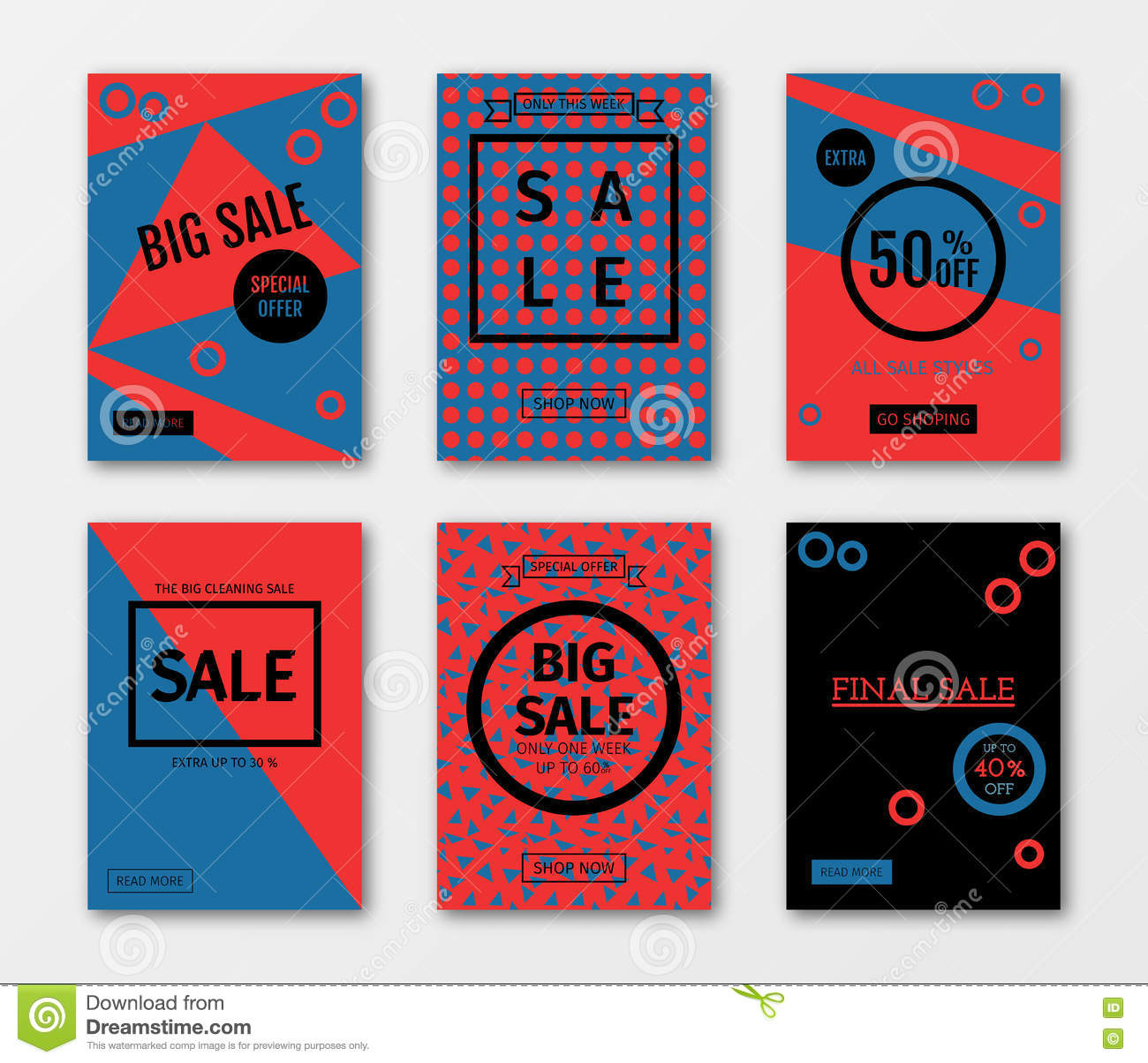 Set Of Sale Templates With Discount Offer Stock Vector