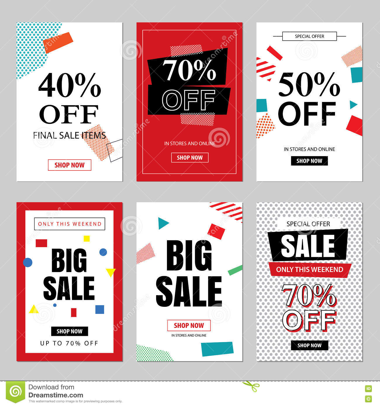 4c2a91e33 Set of sale website banner templates.Social media banners for online  shopping. Vector illustrations for posters, email and newsletter designs,  ads, ...