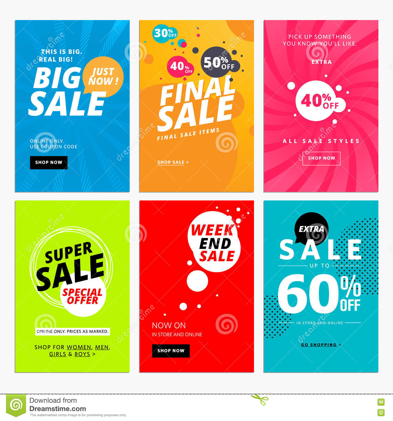 set of sale website banner templates stock vector illustration of