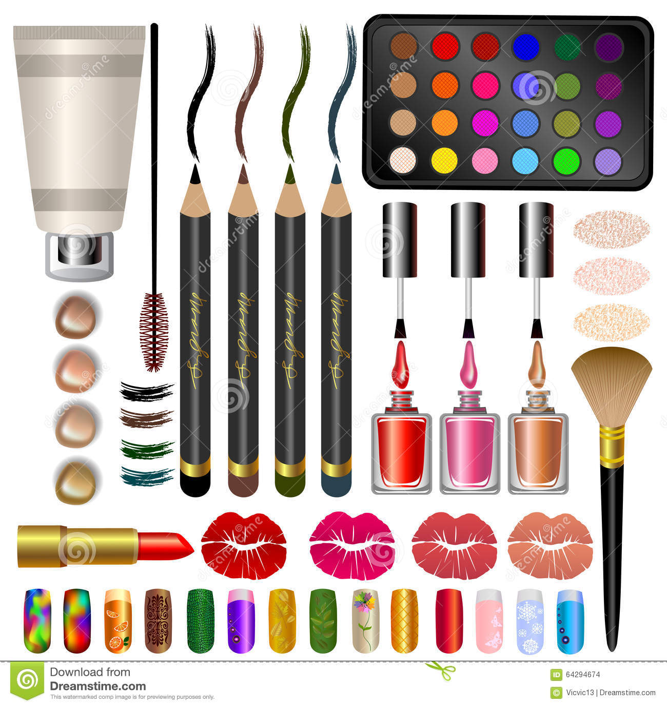 Set Samples Different Cosmetics And Makeup Vector
