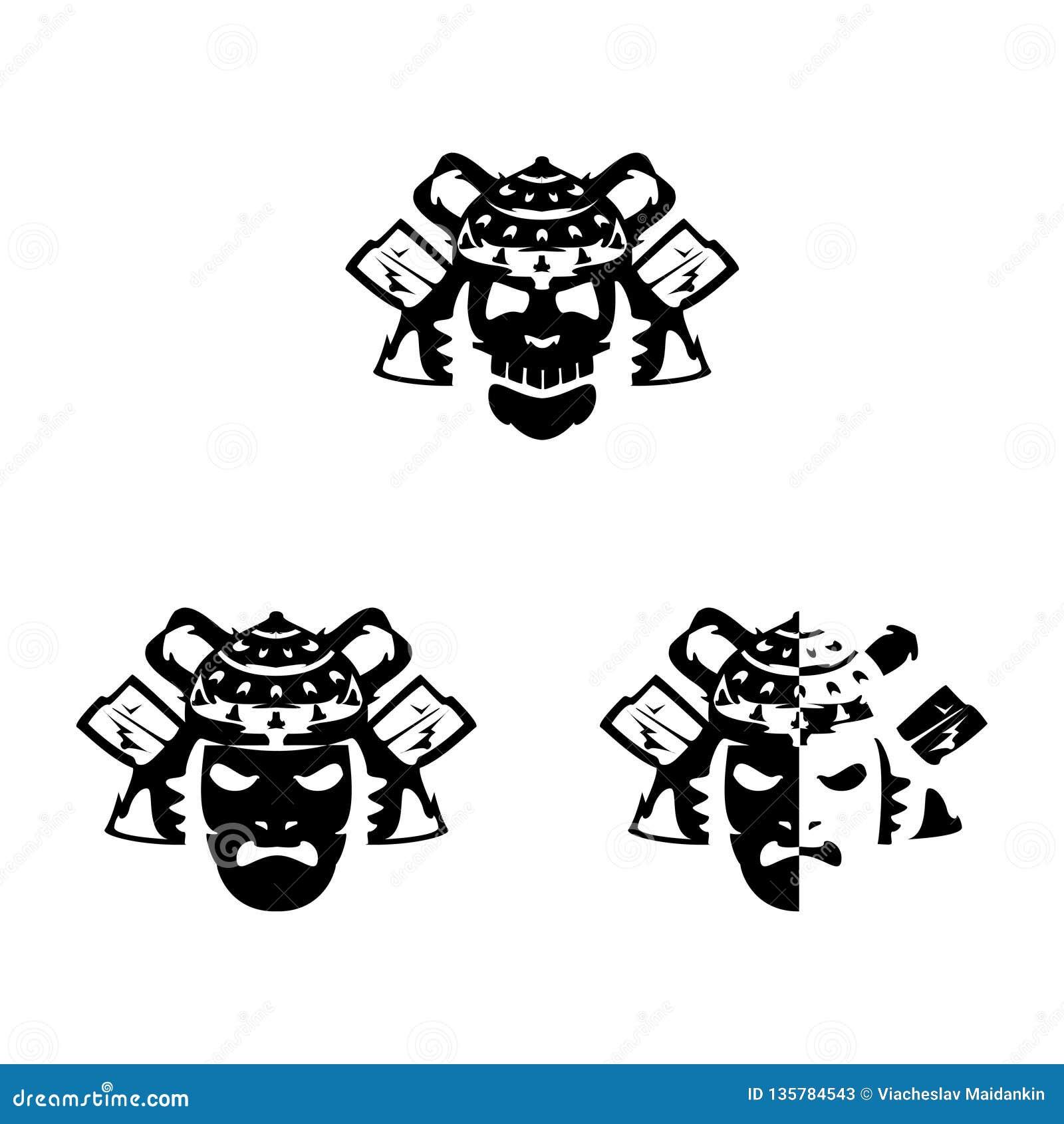 Set samurajów hełmy na białym tle i maski