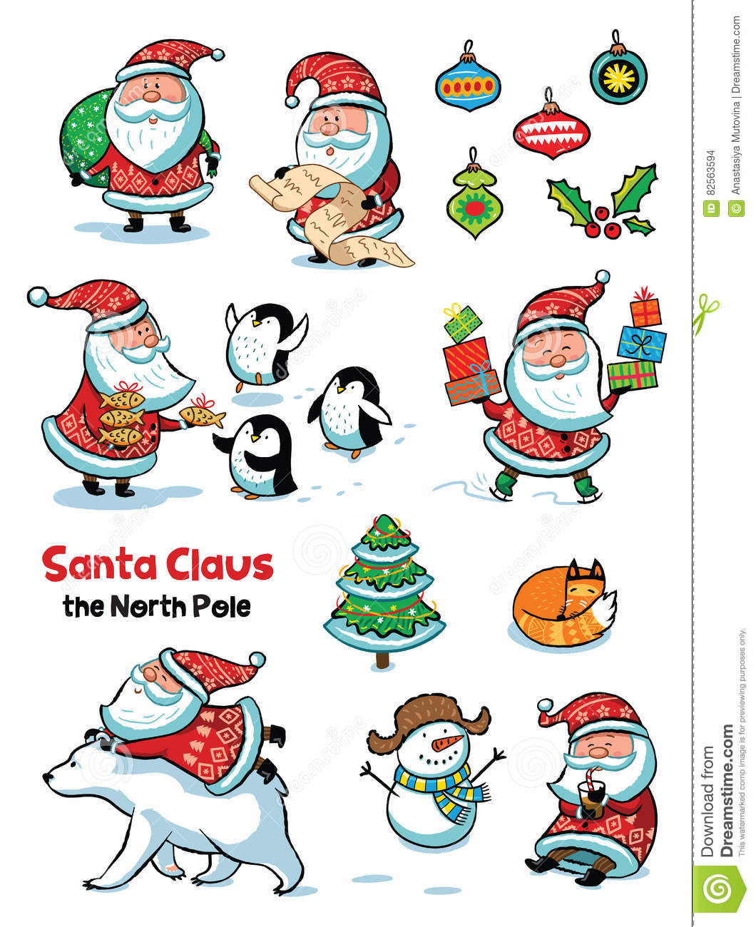 Set of Santa Claus with animals. Vector illustration in cartoon style.