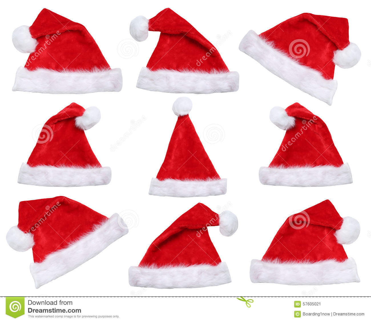 Set of Santa Claus hats on Christmas in winter isolated