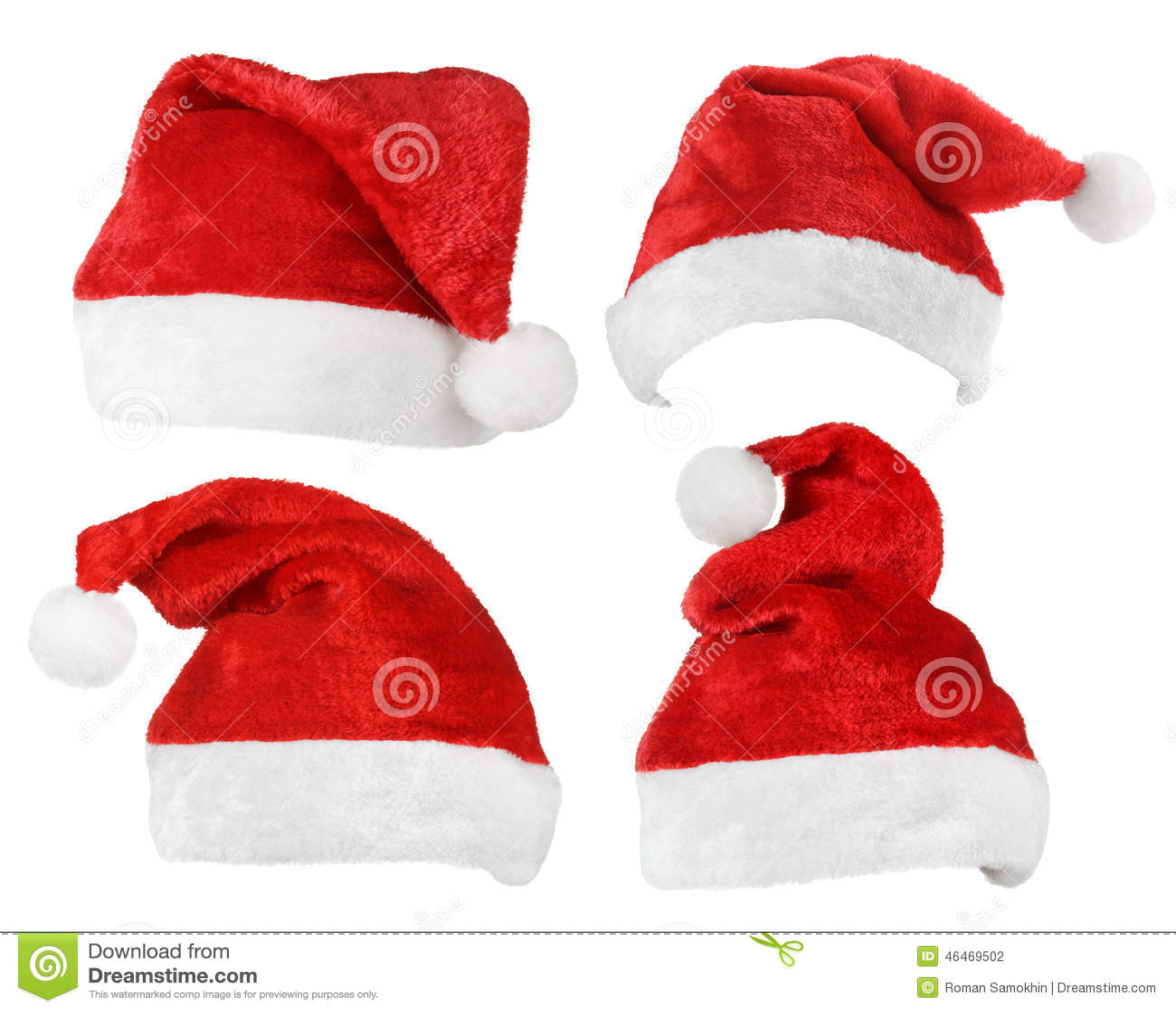 Set of Santa Claus red hats