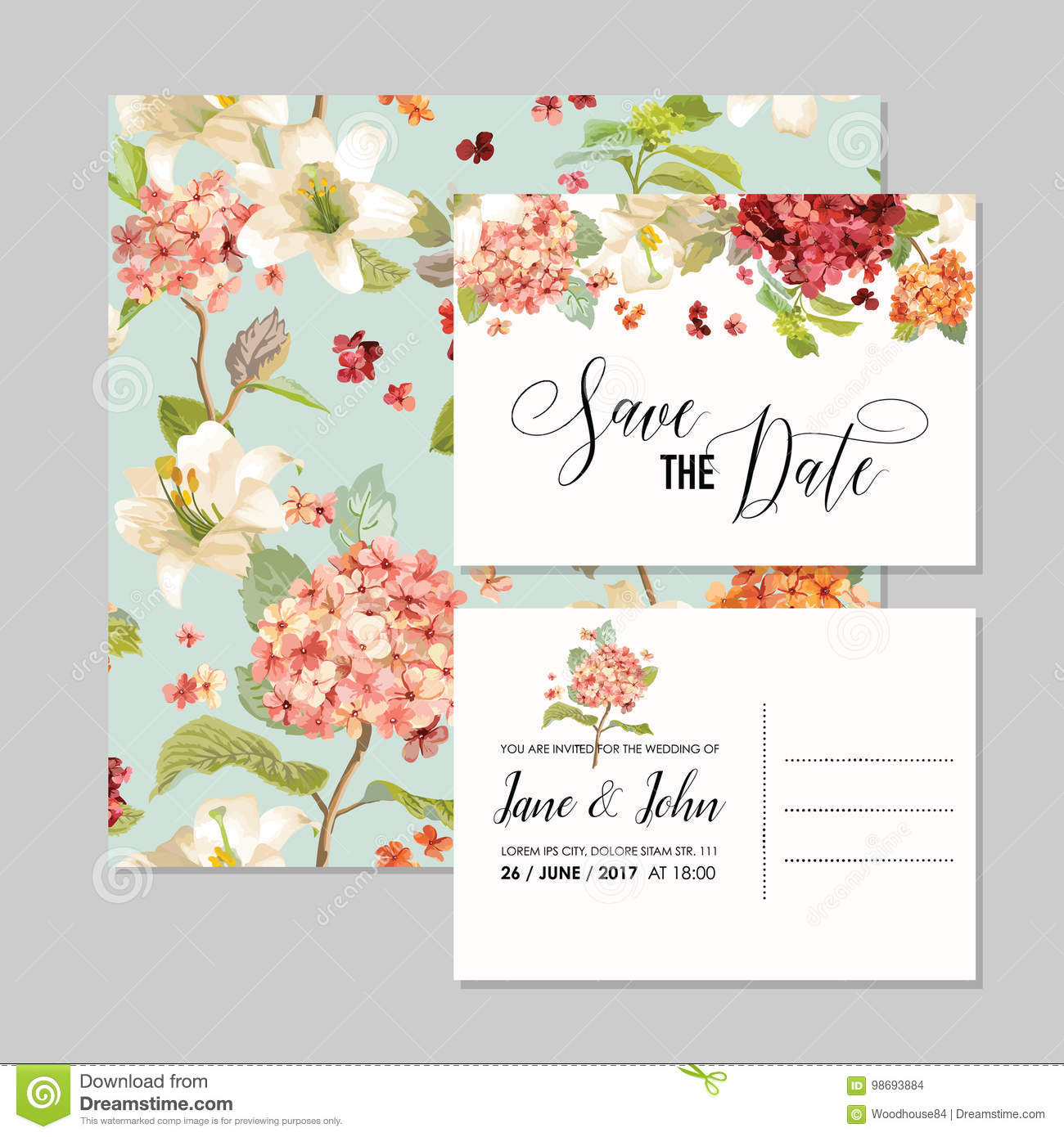 set of save the date cards with autumn vintage hortensia flowers for