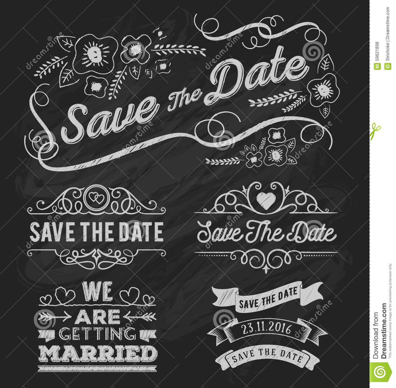 set of save the date typography frame and ribbon chalk style