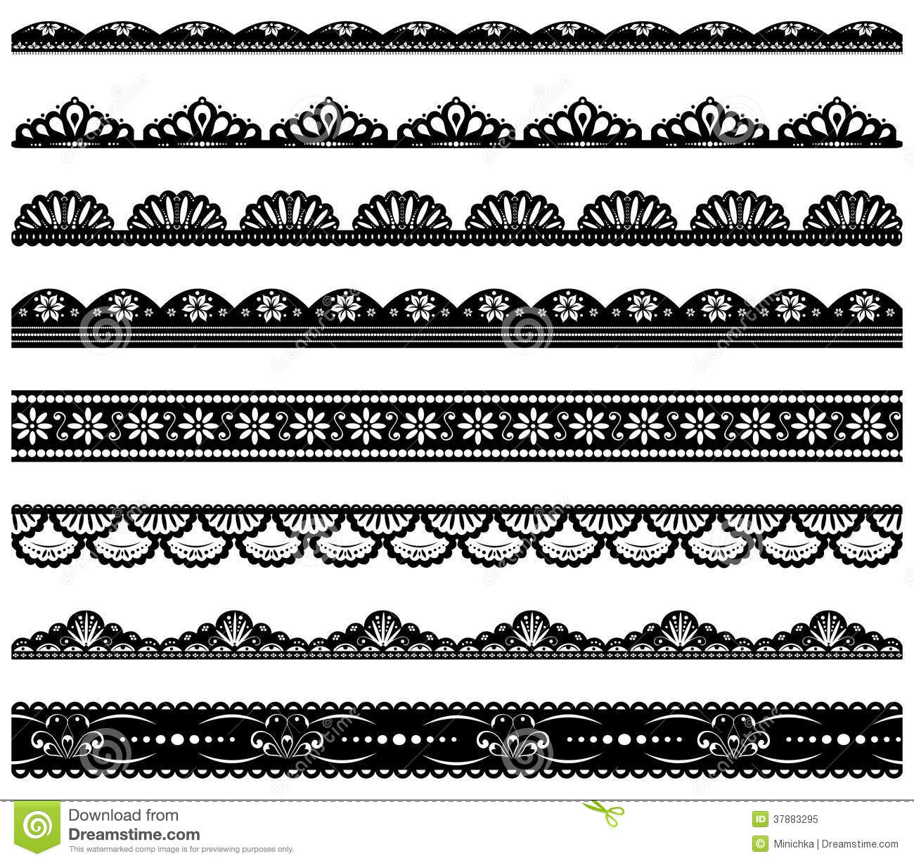 Set Of Scalloped Vector Borders Royalty Free Stock Photo ...