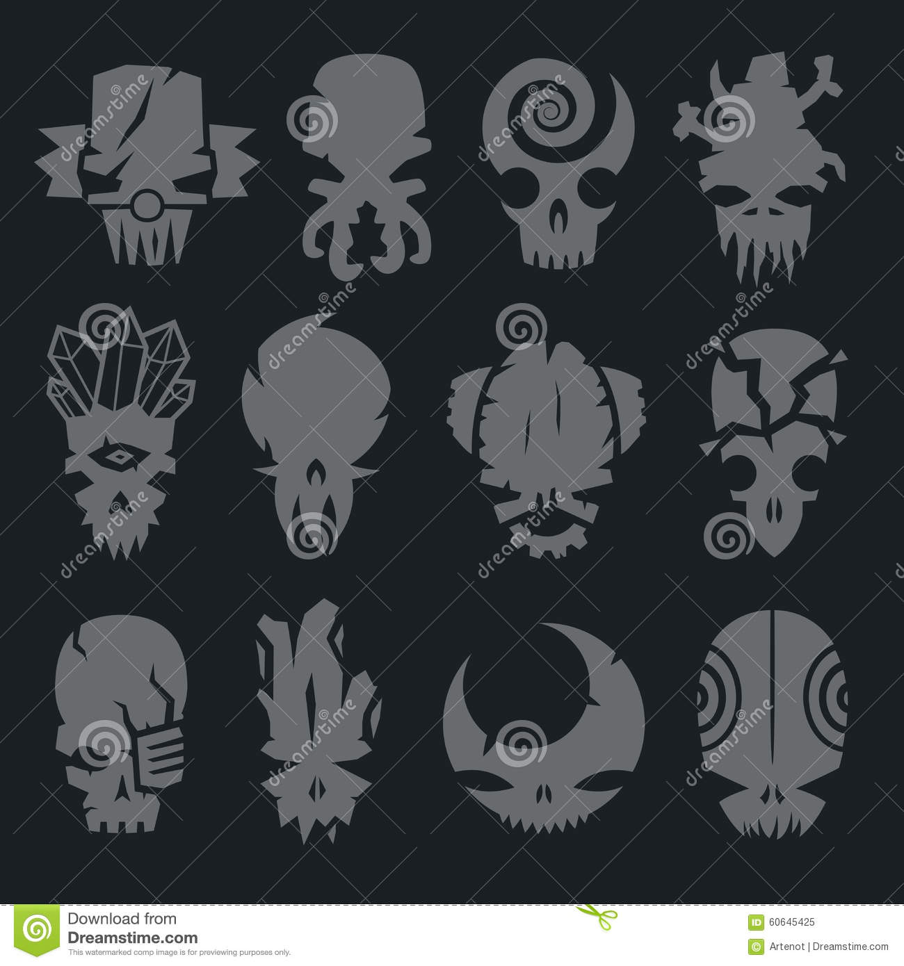 Set Of Scary Monsters Skull Characters Stock Vector Illustration