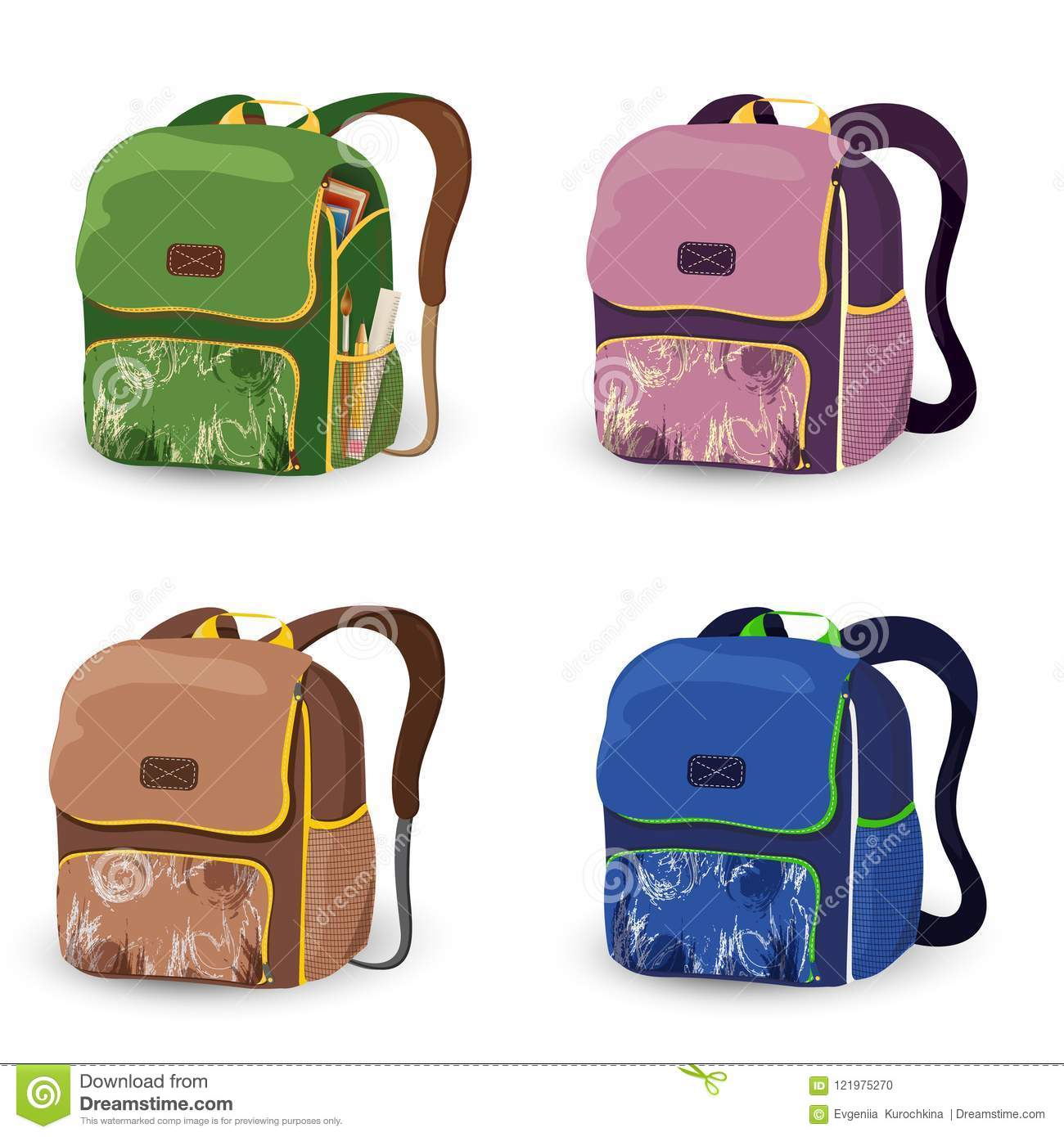 96221b8d49f7 Set of school bag kids isolated on white background. School bag cartoon.  Backpacks