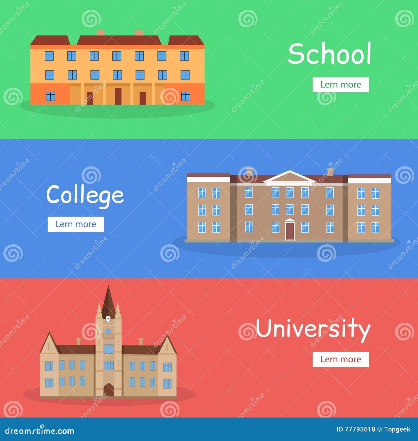 College Building Vector. Modern University Academy ...  |Brown University Building Cartoon
