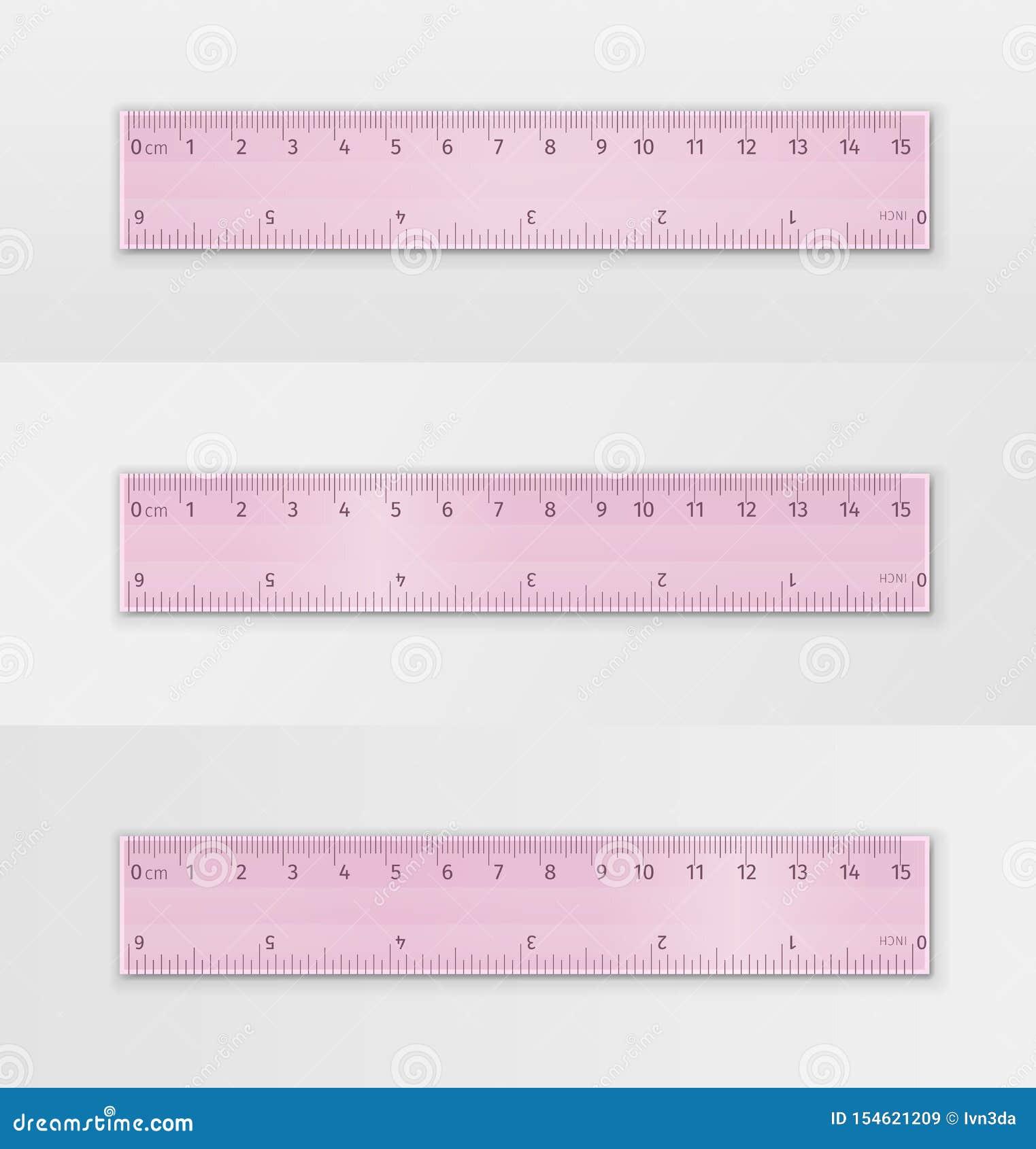 Set of School Measuring Transparent Plastic Ruler of Pink Color 20 ...