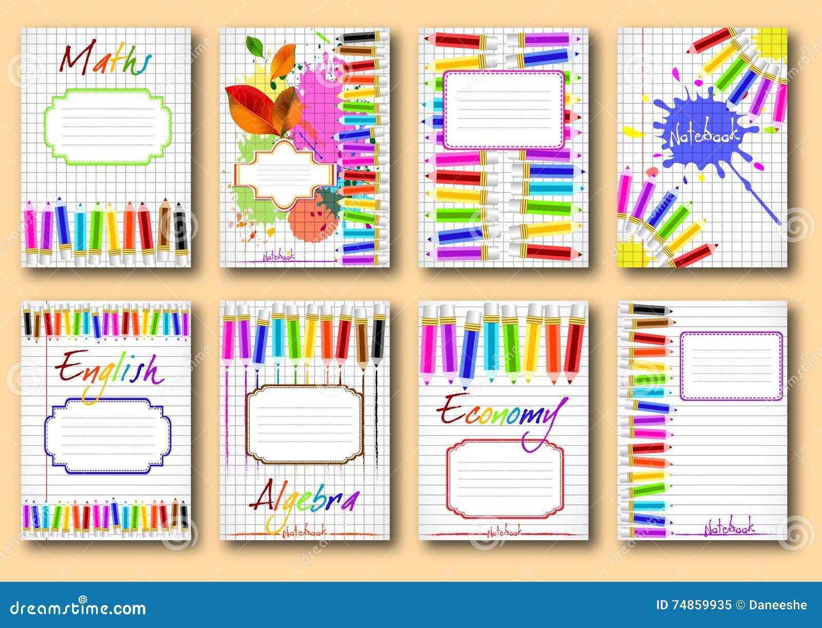 School Book Cover Vector ~ Set of school notebook covers stock vector image