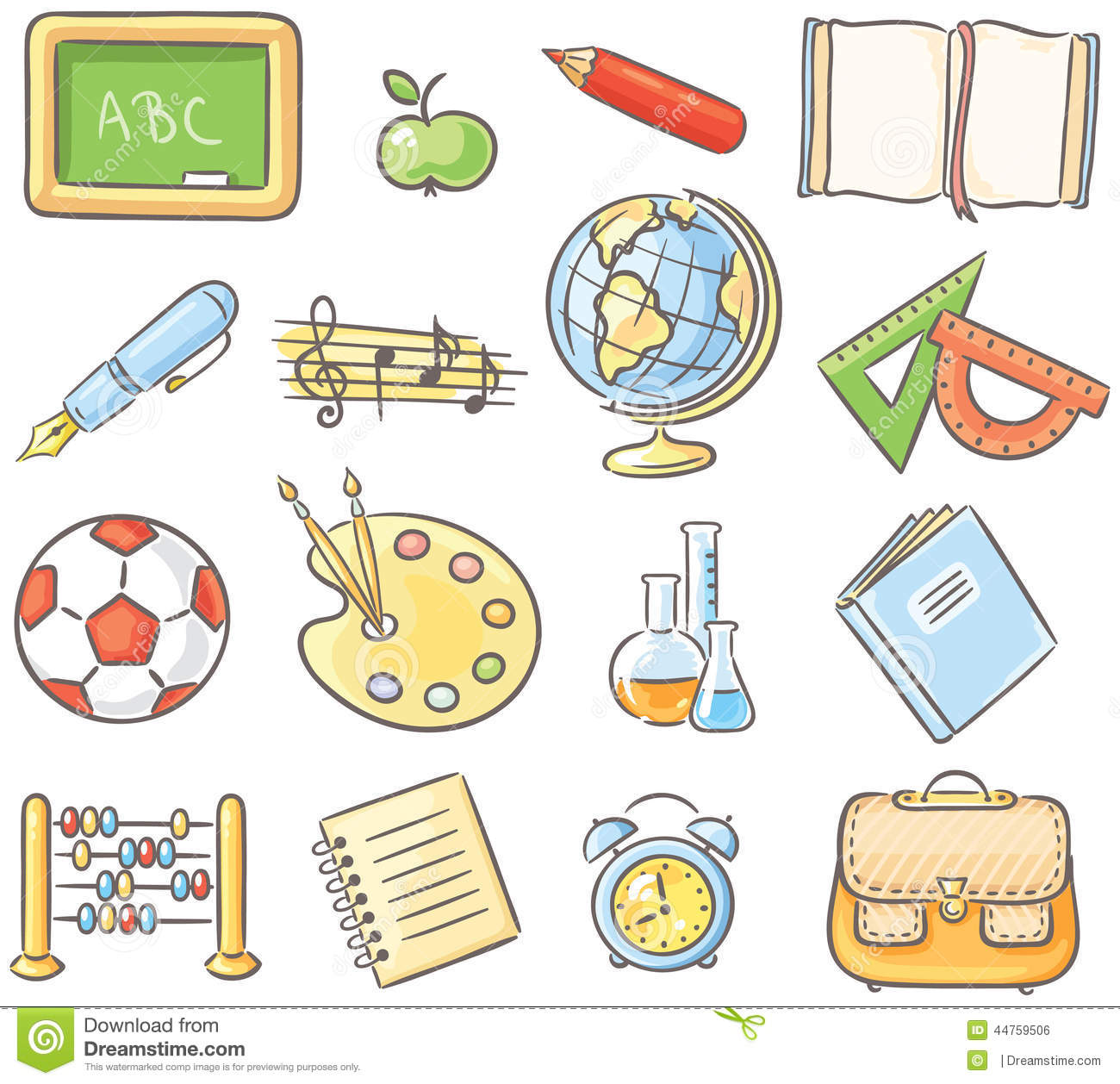 Set Of 16 School Thing Representing Different Subjects ...