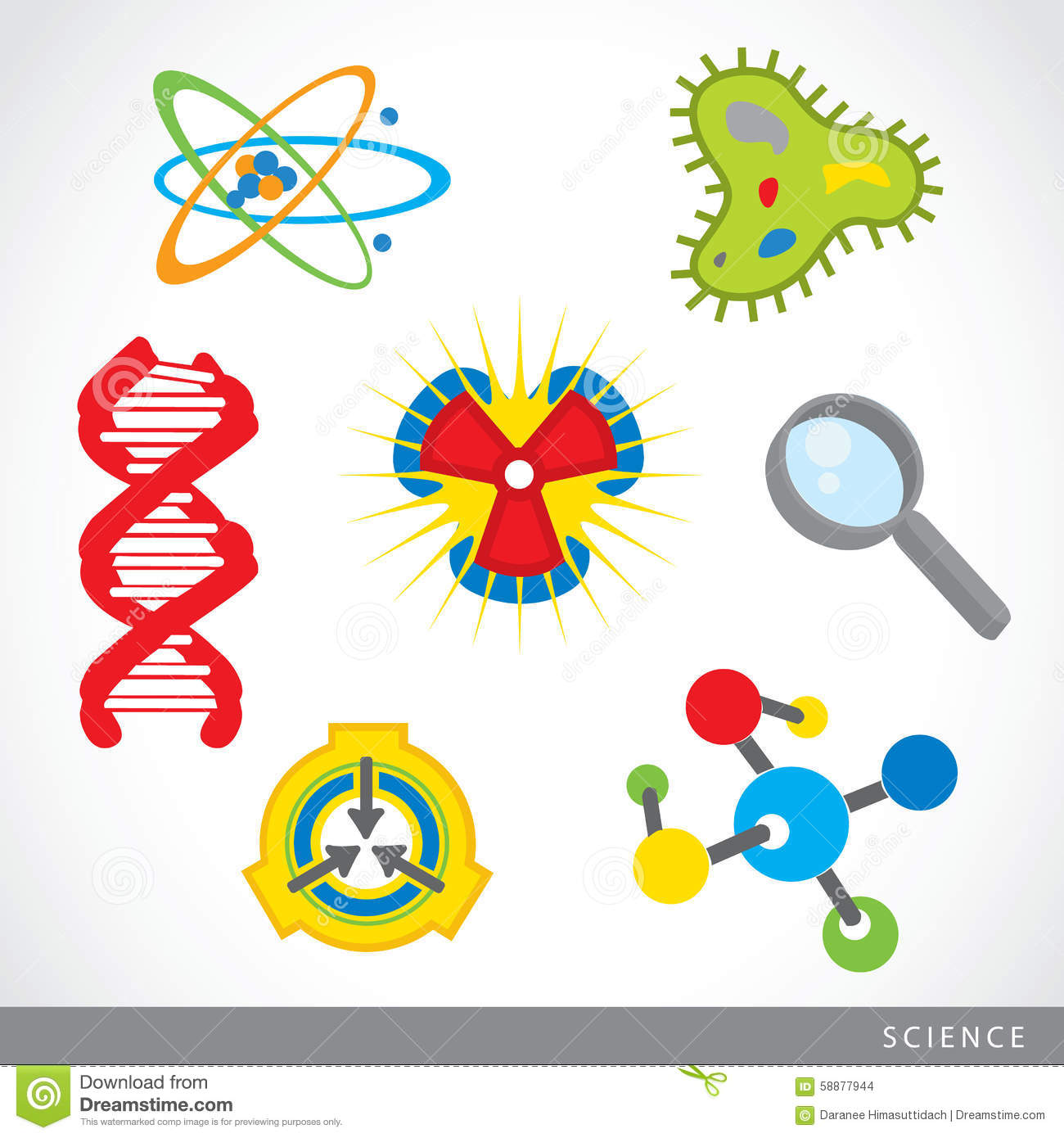 Set Of Science Stuff Icon Lab Cartoon Vector Stock Vector - Image ...