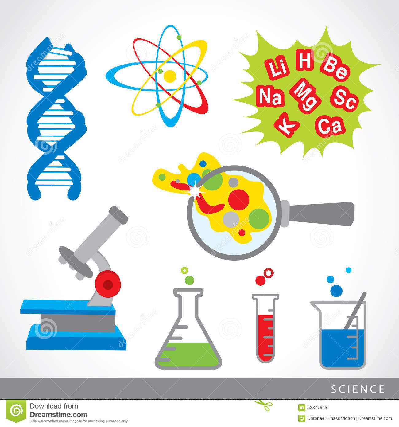 Set Of Science Stuff Icon Lab Cartoon Vector Stock Vector