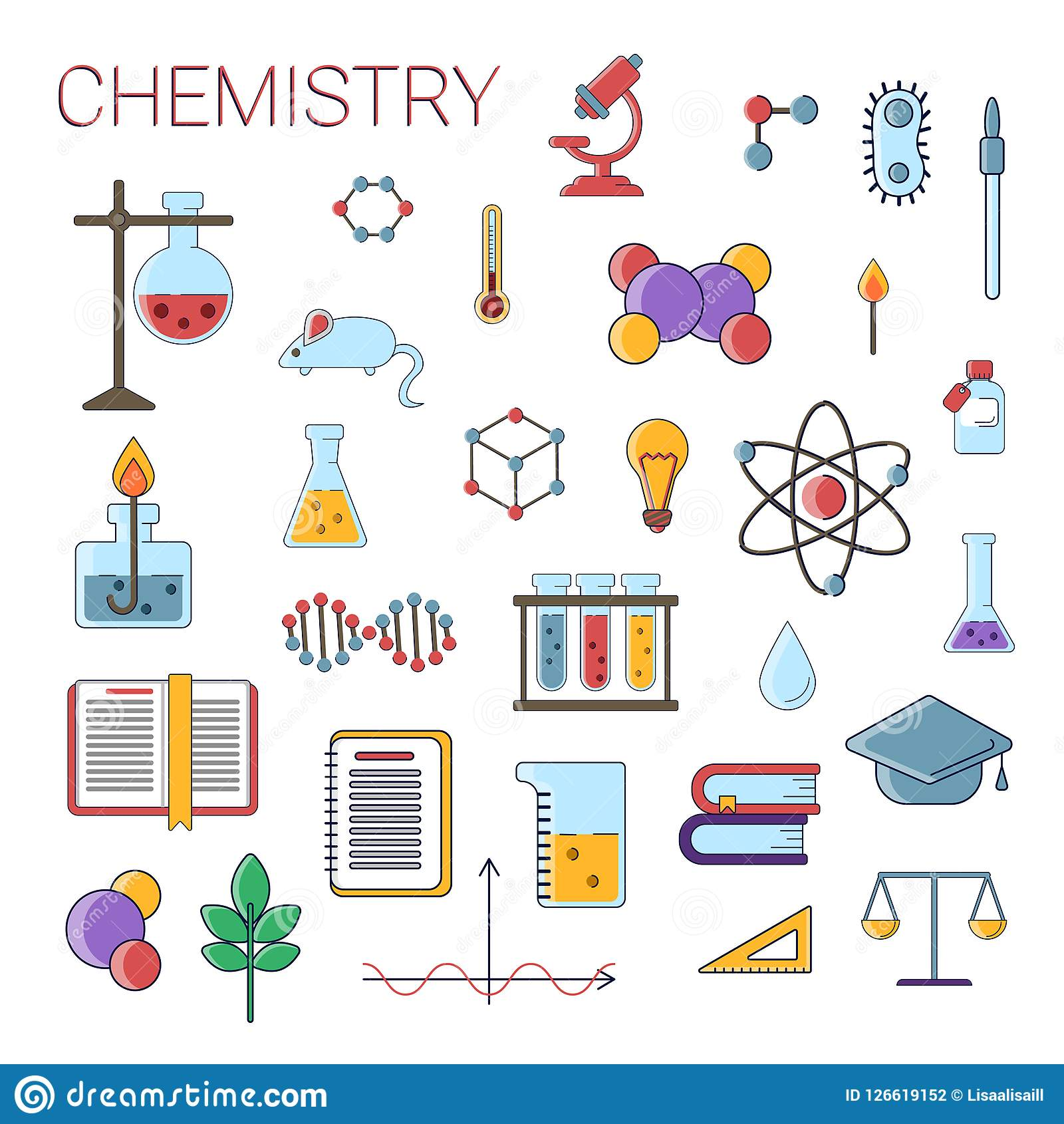 Set of scientific chemistry vector flat icons, Chemistry education symbols in colored cute design with chemistry