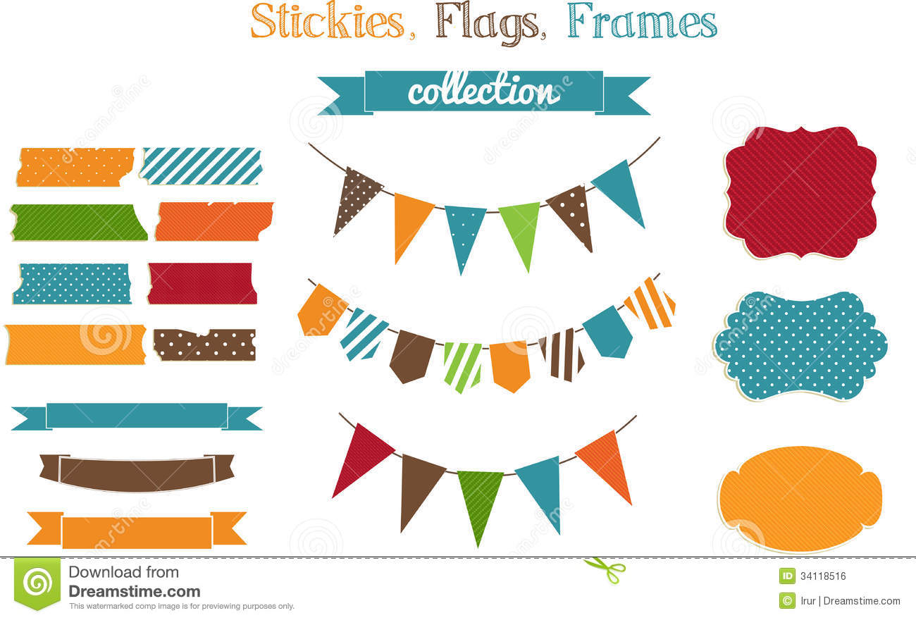 Set of scrap-booking bright stickies, flags and fra