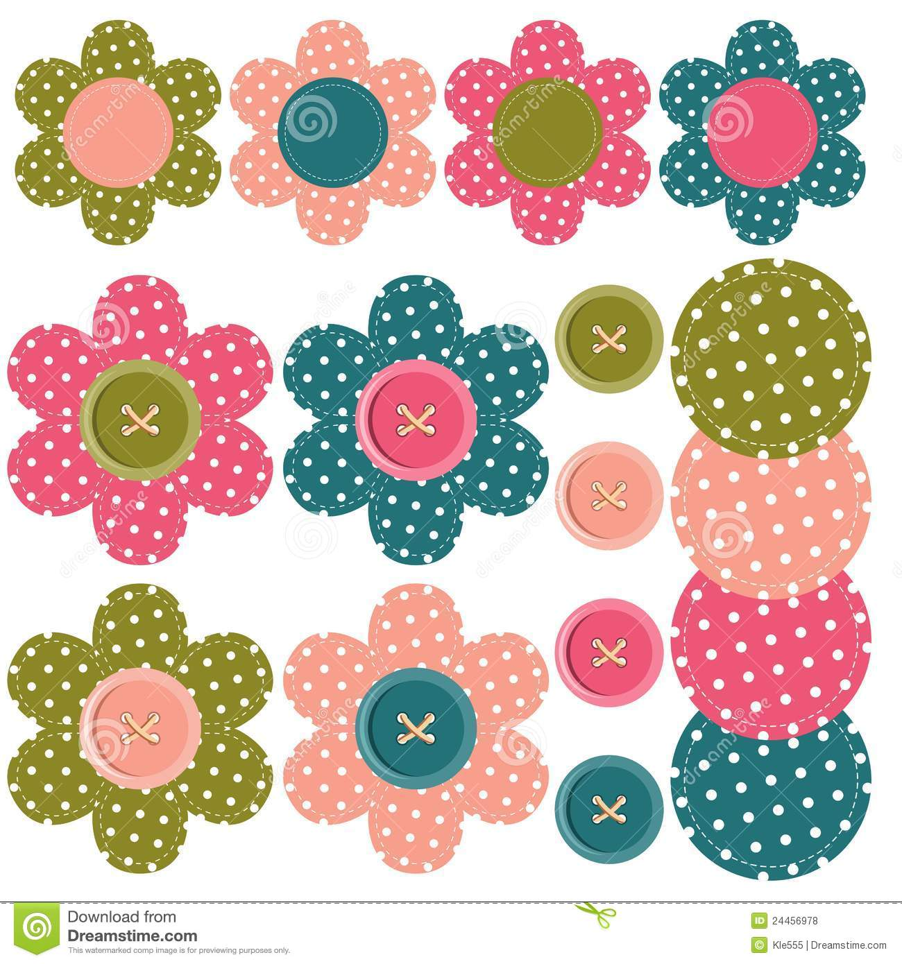 Flower And Butterfly Wall Stickers Set With Scrapbook Flowers And Buttons Stock Illustration