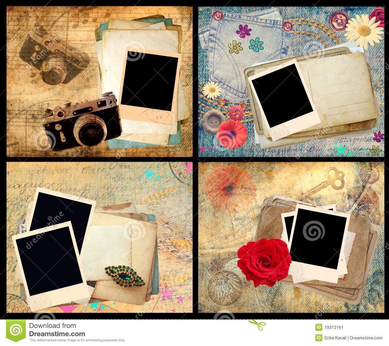 set of scrapbook frames stock illustration  image of girly