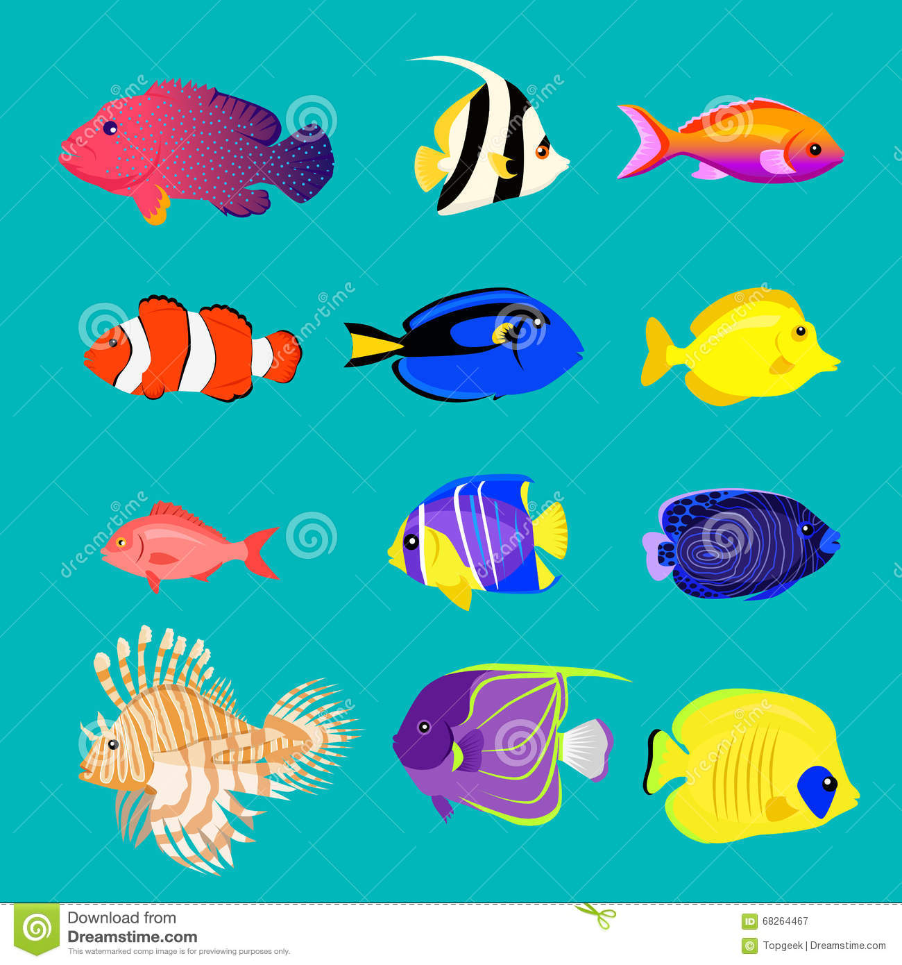 Set of sea fish color design flat stock vector for What color are fish