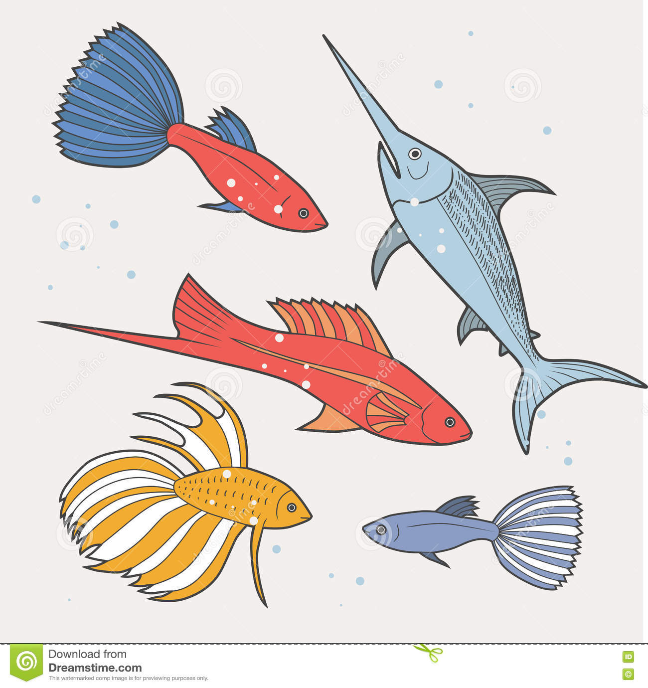 Set Of Sea And Ocean Fish. Tropical Decorative Fish. Stock ...