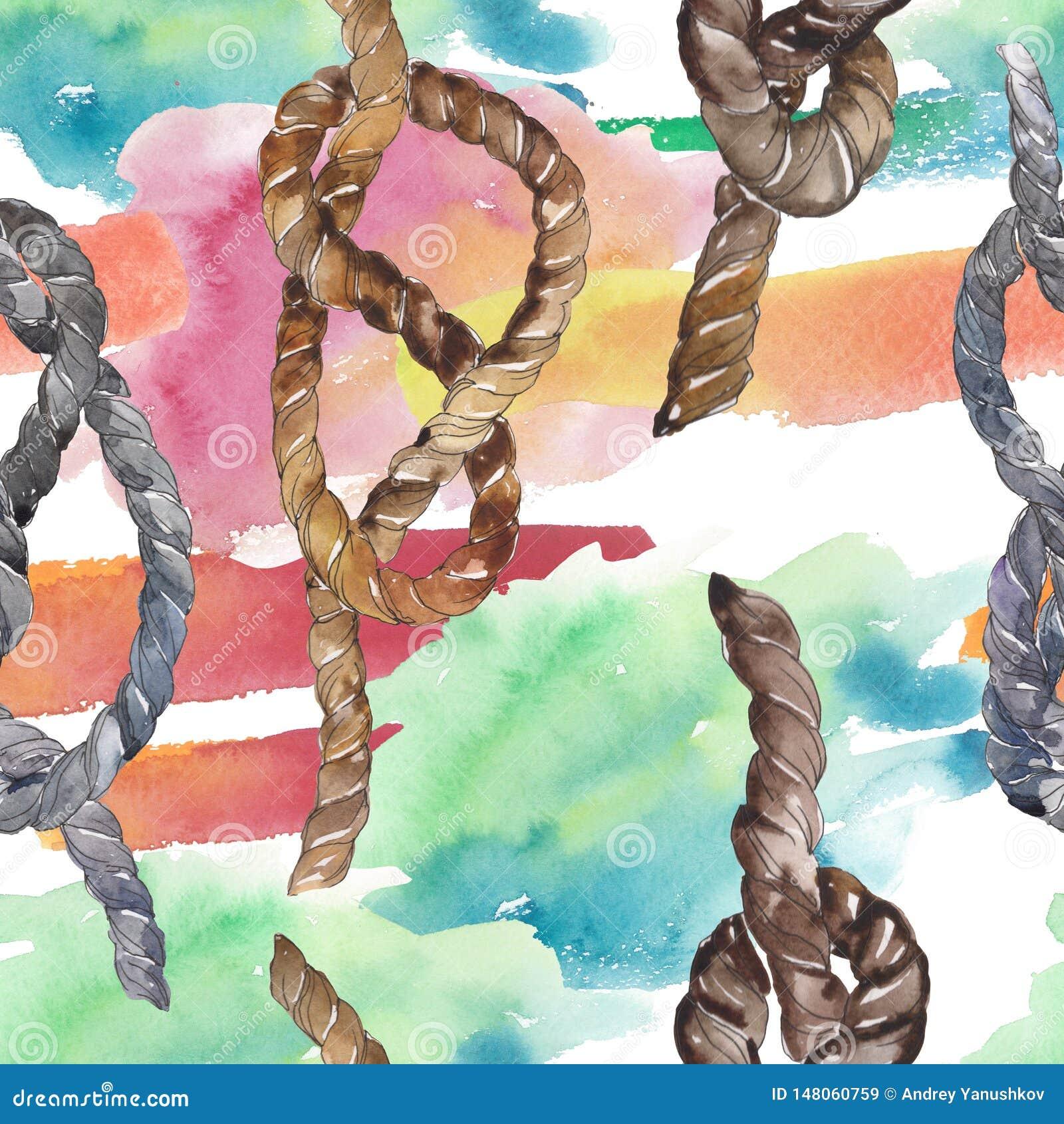 Set Of Sea Rope Nots Watercolor Background Illustration Set